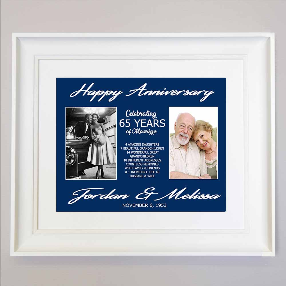 65th Wedding Anniversary Photo Collage Wall Art