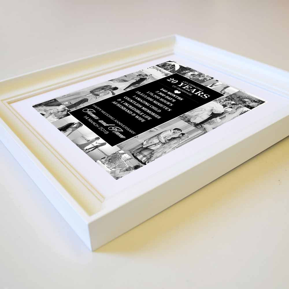Personalised  horizontal Weeding Anniversary 12 Photo Collage wall art  with personal Information, Side,domore.ie