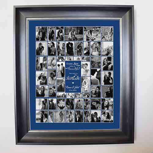 Midnight Blue Our Love is Beautiful Framed Photo Collage