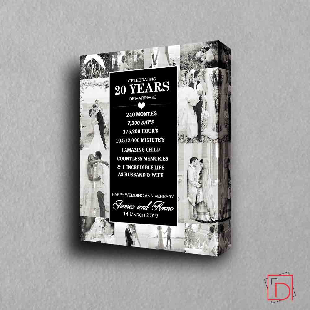 20th Wedding Anniversary Photo Collage Wall Art - Do More With Your Pictures