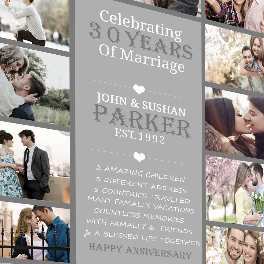 30th Pearl Wedding Anniversary Photo Collage