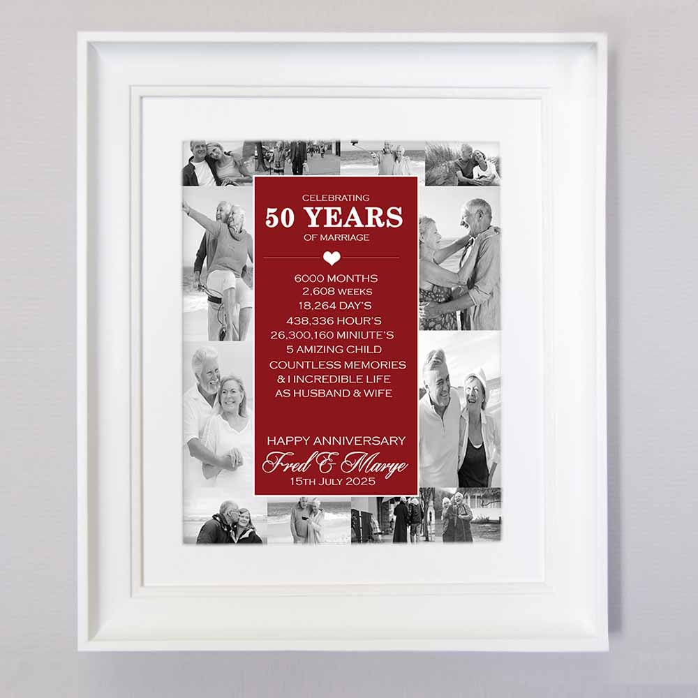 50th Golden Wedding Anniversary Wall Art - Do More With Your Pictures