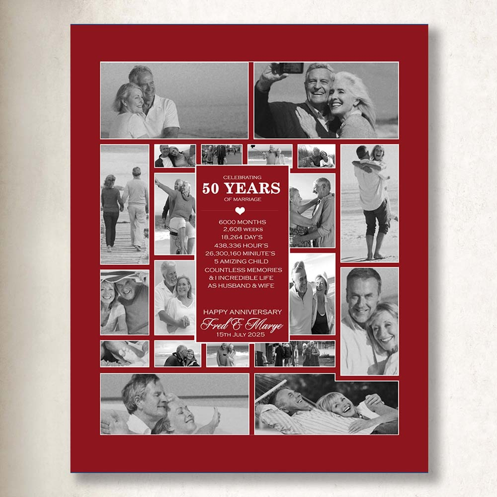 50th Gold Wedding Anniversary Picture collage On Canvas