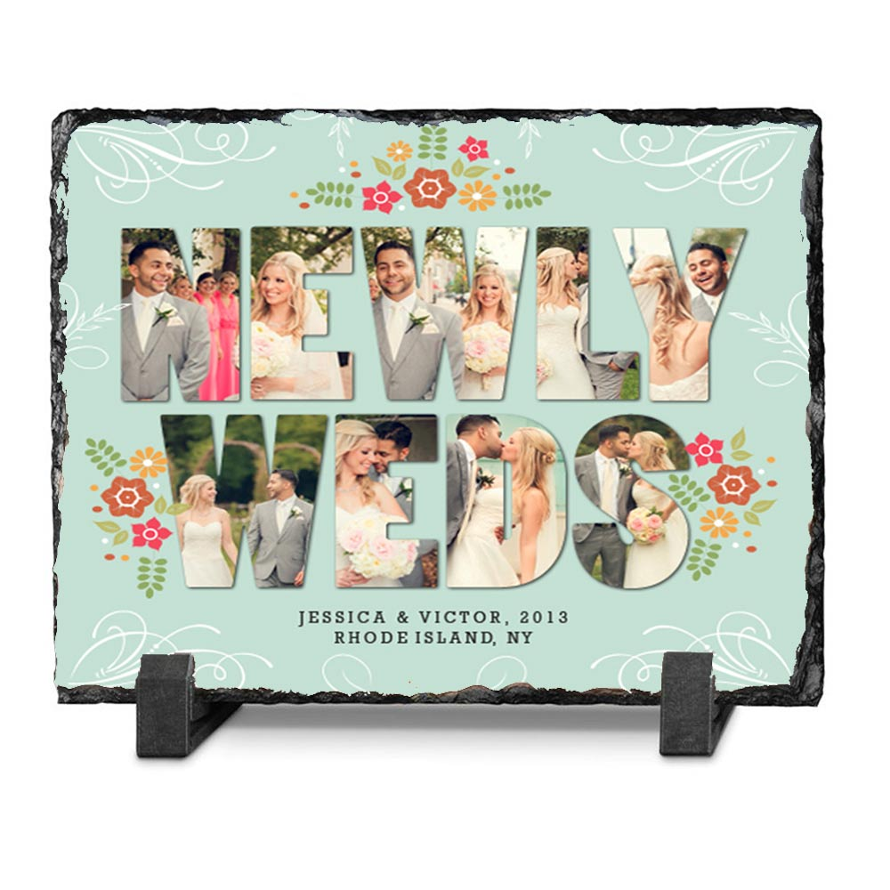 Newly Weds Photo Collage On Slate