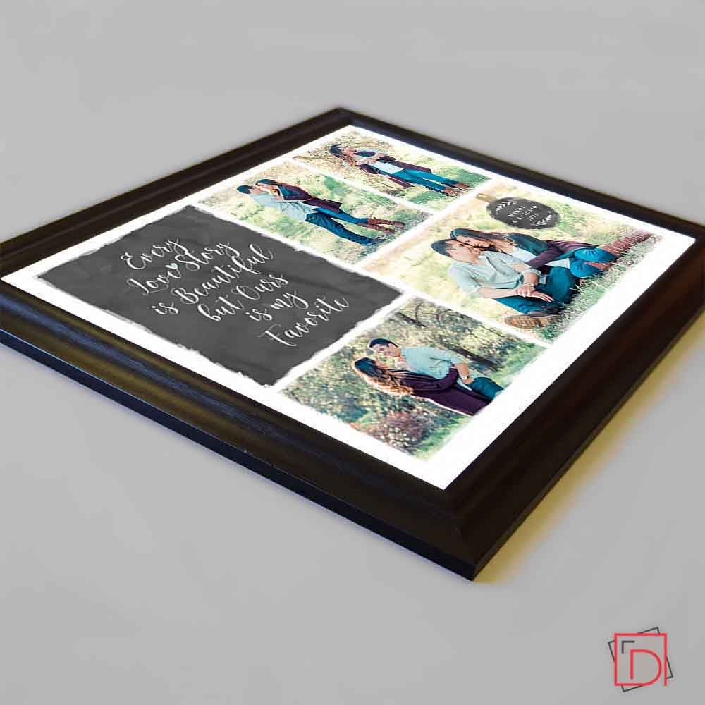White Smoke Our Love Story Framed Photo Collage