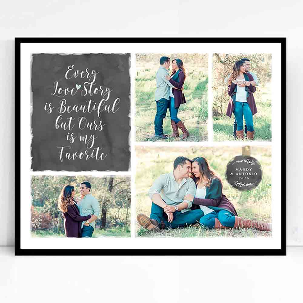 Antique White Our Love Story Framed Photo Collage