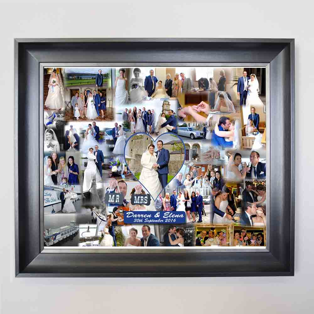 Our Wedding Bubble Framed Photo Collage