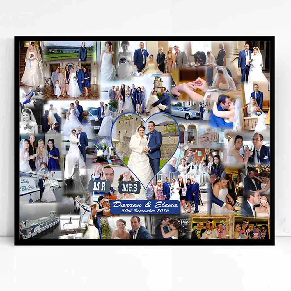 Dark Gray Our Wedding Bubble Framed Photo Collage