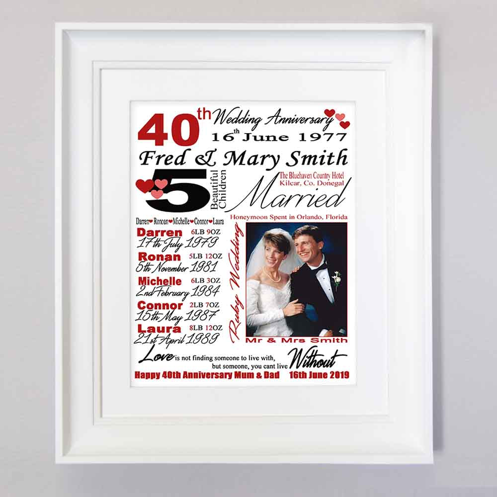 40th Ruby Wedding Anniversary Sentiment