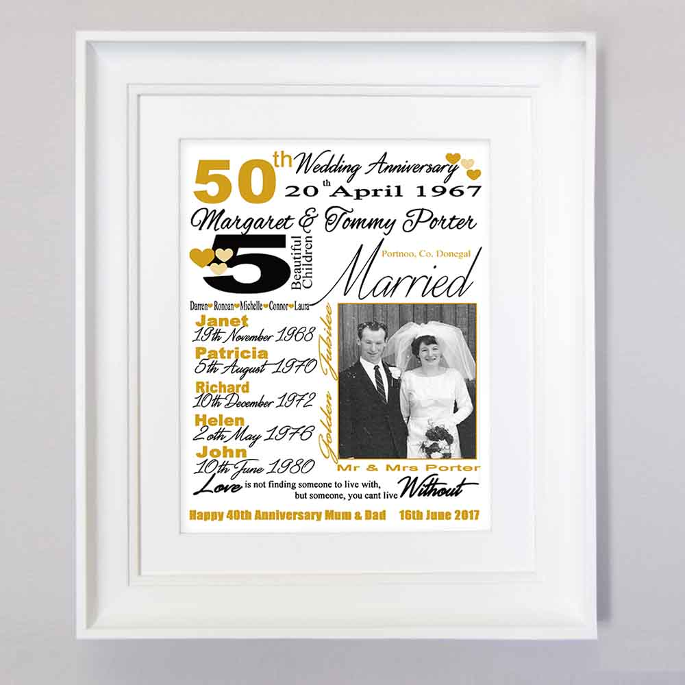 50th Golden Wedding Anniversary Sentiment