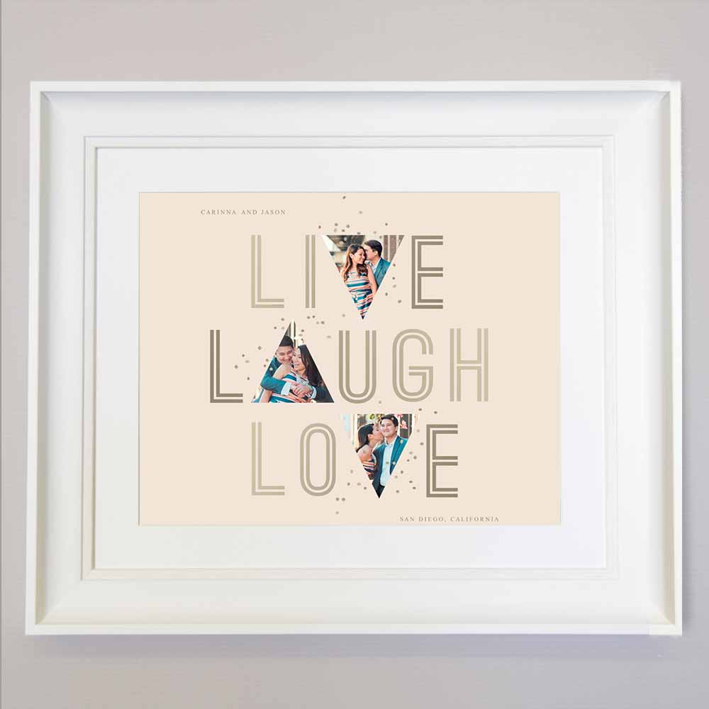 Antique White Live, Laugh, Love  Photo Collage Wall Art
