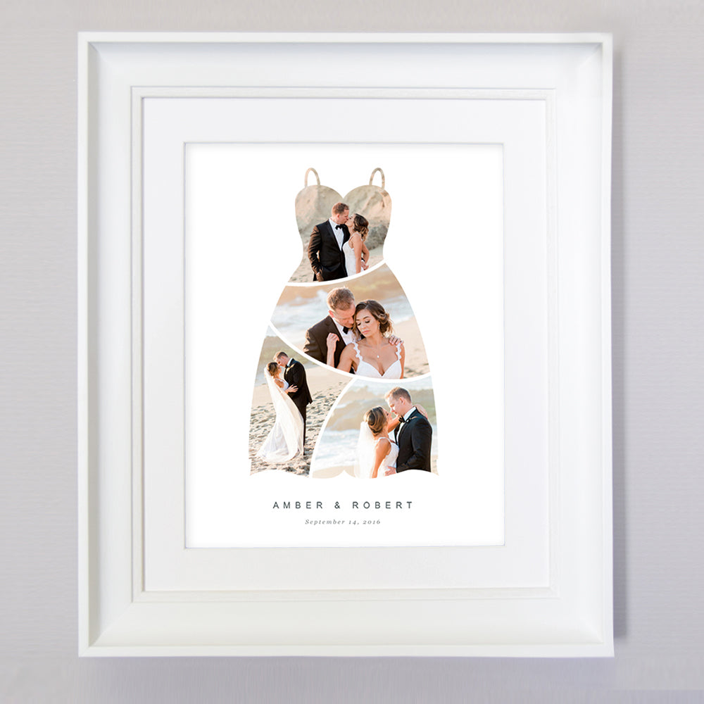 White Smoke Wedding Dress Photo Collage Wall Art