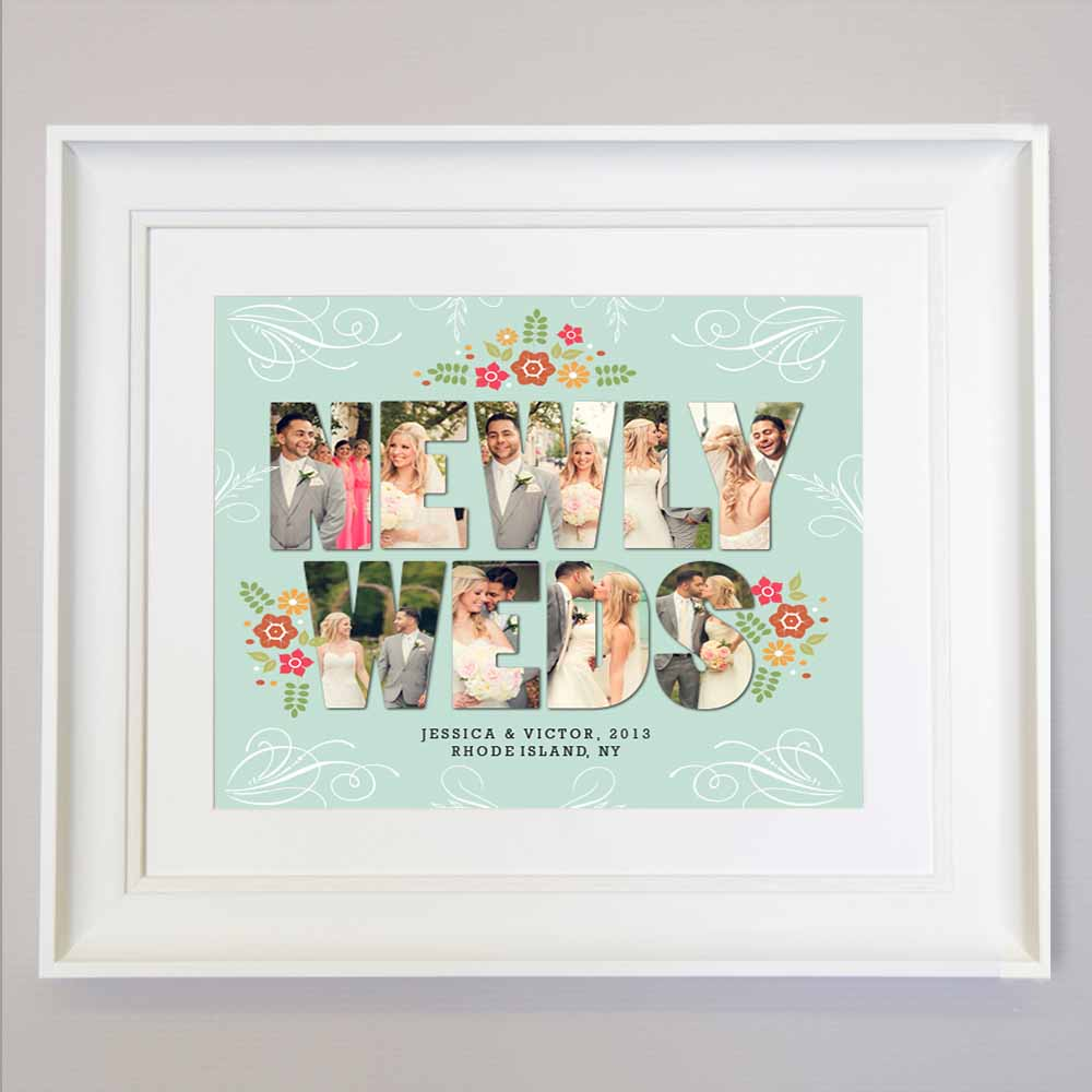 Gray Newly Weds Photo Collage Wall Art