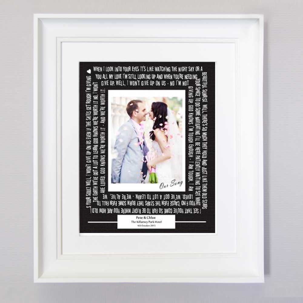 White Smoke Our Wedding Song Sentiment Frame