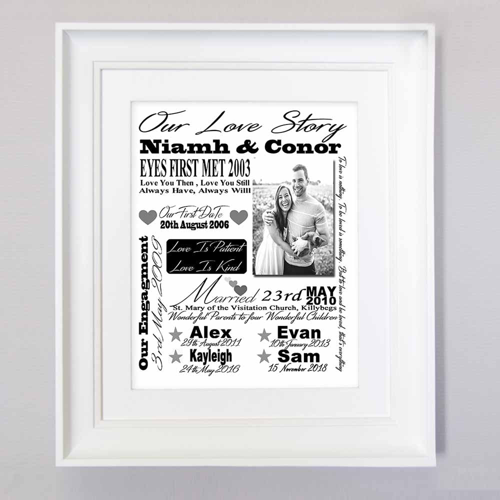 White Smoke Our Love Story Sentiment Frame
