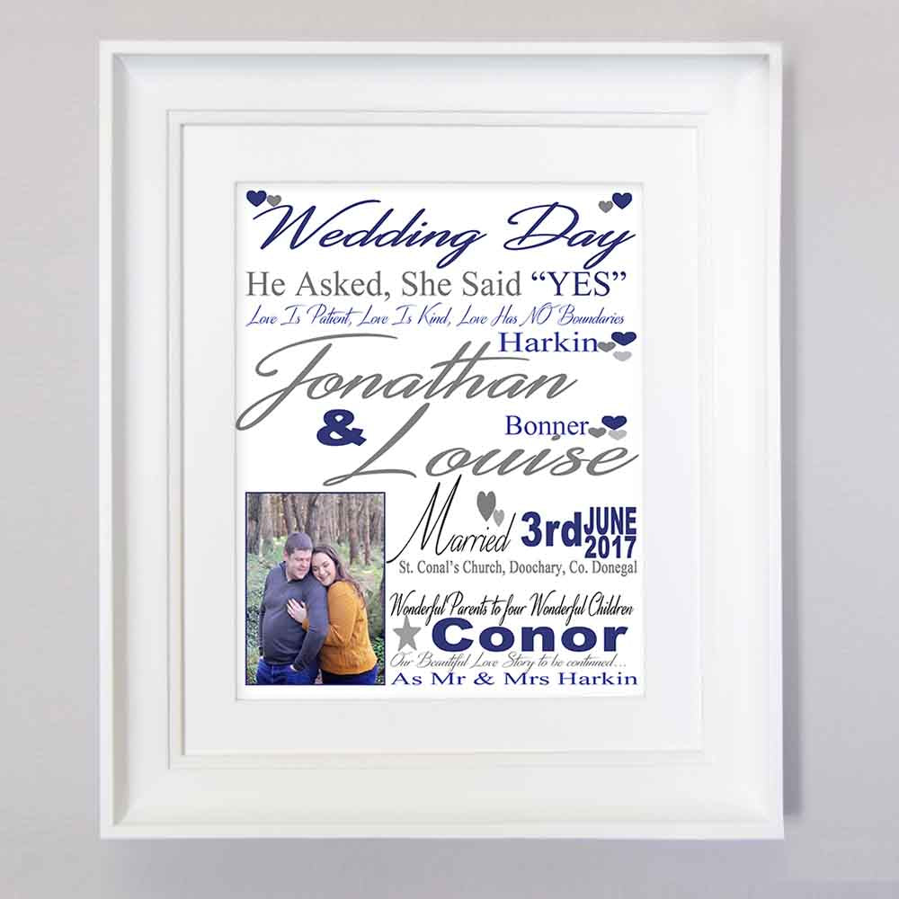 White Smoke Our Wedding Day Sentiment Frame