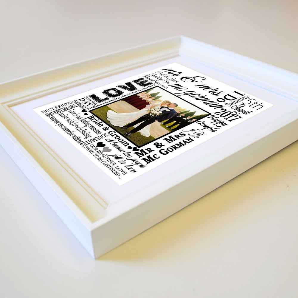 White Smoke Mr & Mrs Sentiment Frame