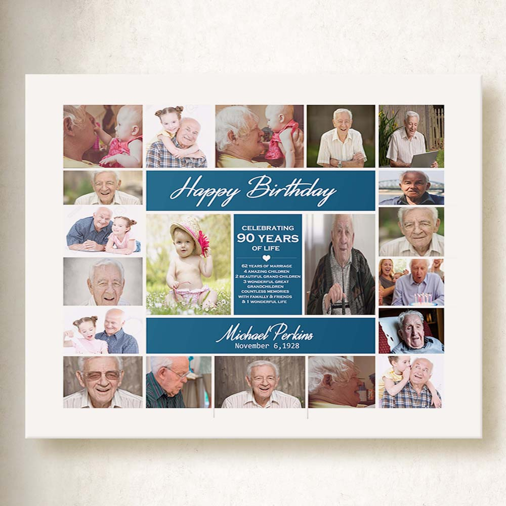 This Is Your Life Birthday Photo Collage On Canvas