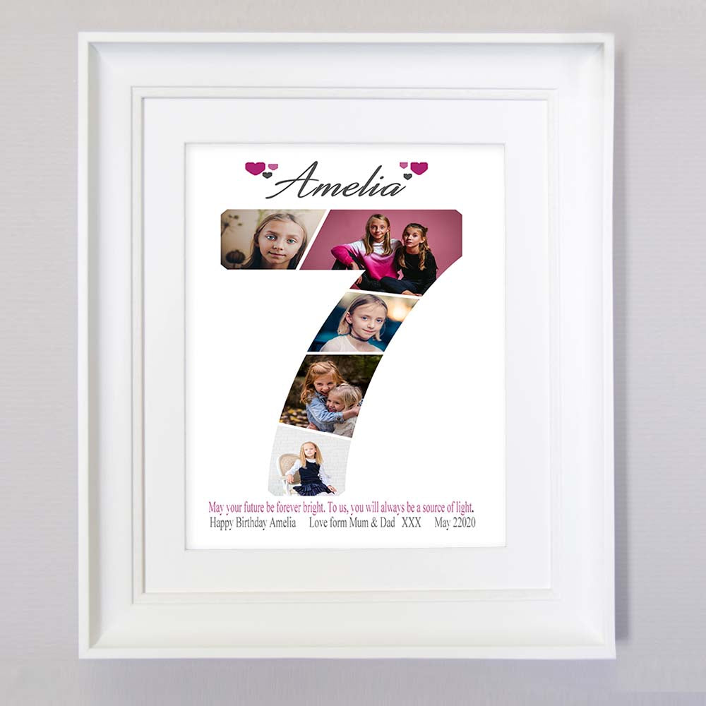7th birthday photo collage for Baby -Baby's photo collage gift Idea - Seventh birthday photo collage wall art, Front View, domore.ie