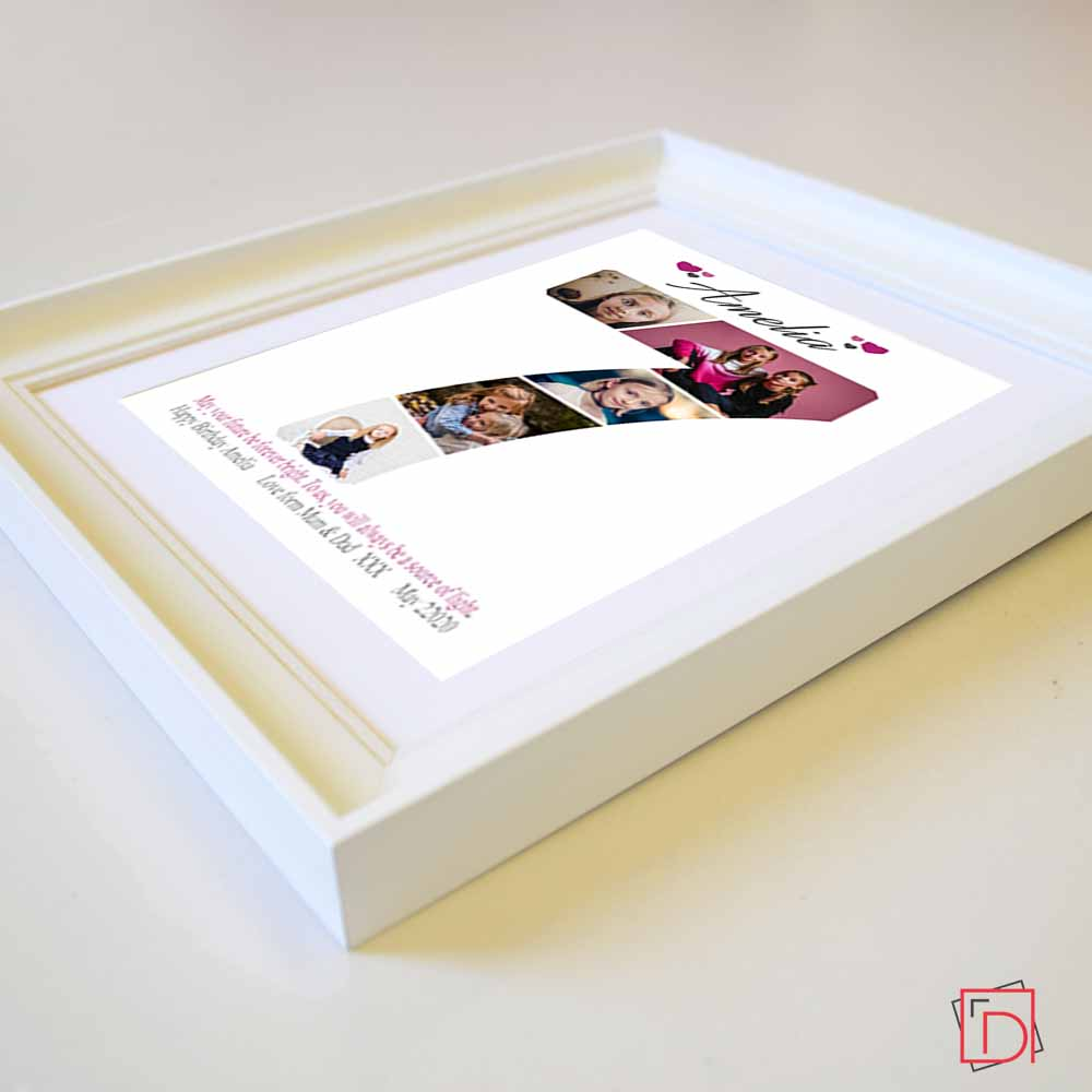 Personalised  Baby 5 photos Gift Frame, Age Photo Collage Wall Art , White Color Side View, domore.ie