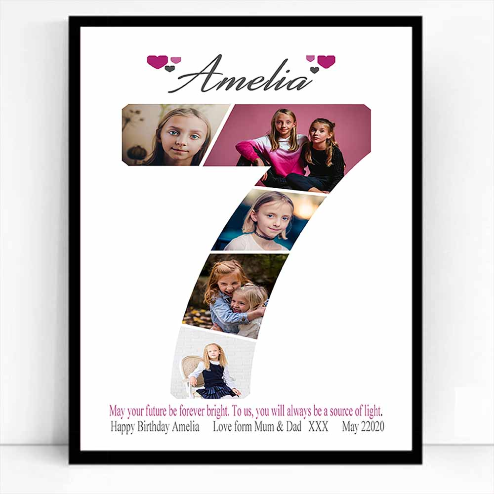 Birthday Age Framed Photo Collage