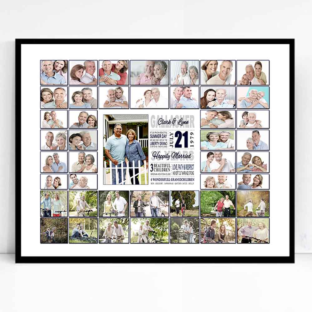 Gray Wedding Framed Photo Collage