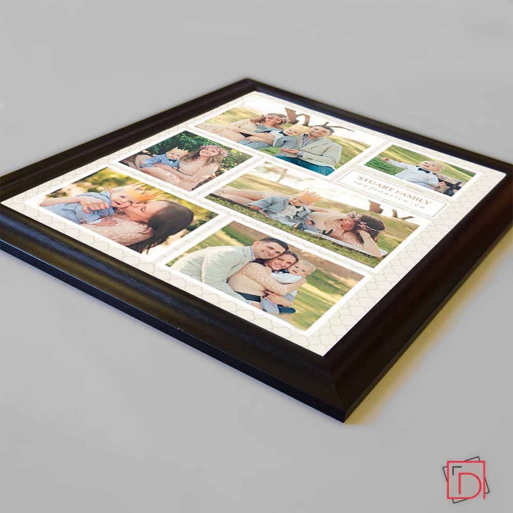 Tan Sleek Engagement Framed Photo Collage