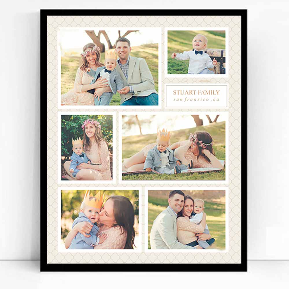 White Smoke Sleek Engagement Framed Photo Collage