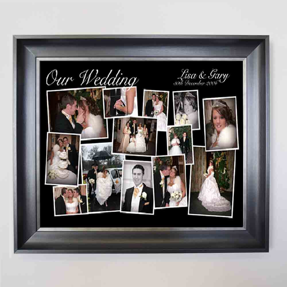 Black Our Wedding Framed Photo Collage