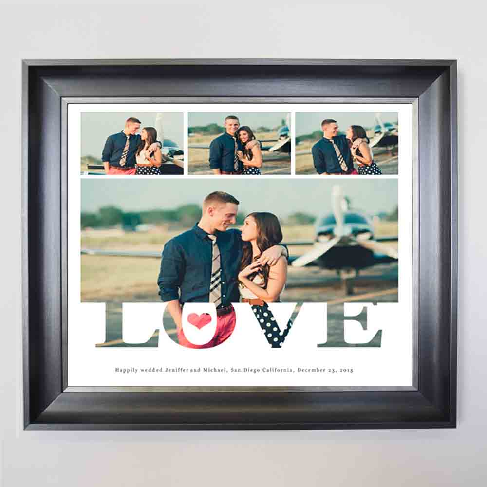 Tan Love Is Wedding Framed Photo Collage