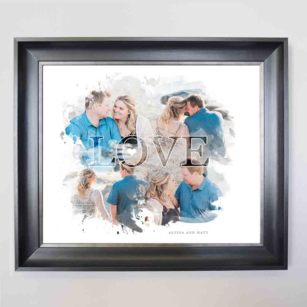Steel Blue Love Cloud Framed Wedding Collage