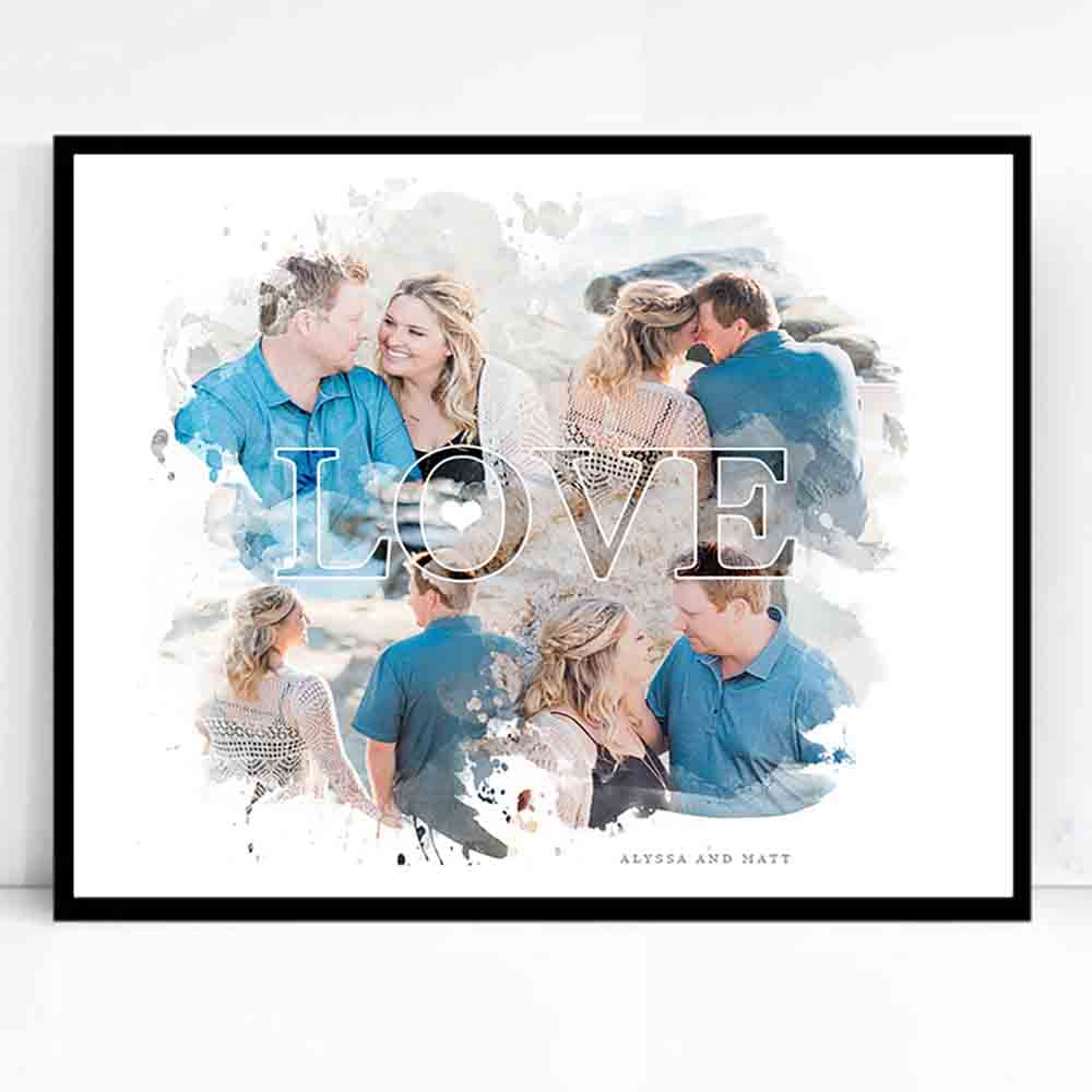 Gray Love Cloud Framed Wedding Collage