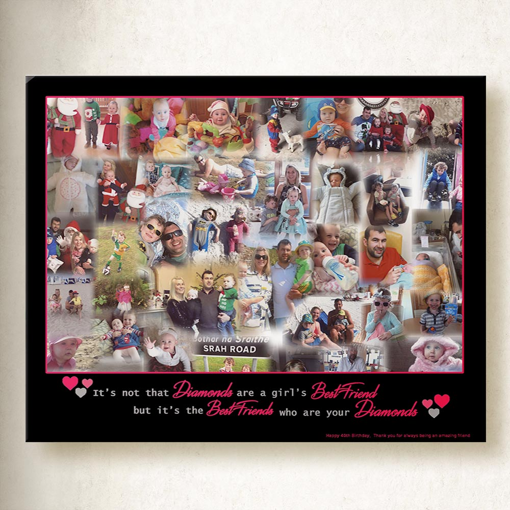 Best Friends Are the Diamonds Collage On Canvas