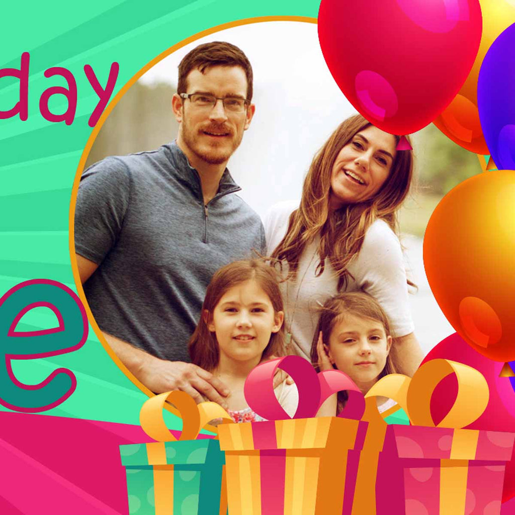 GiftBox Birthday Party Personalised Photo Banner