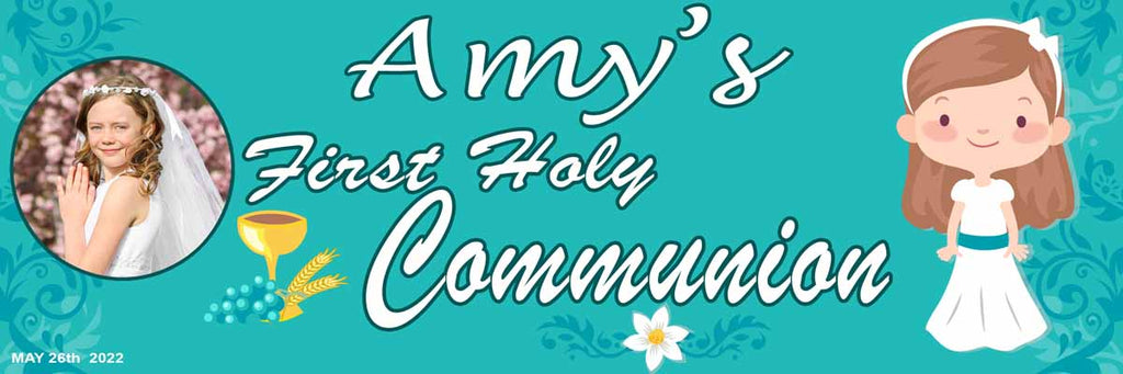 First Holy Communion Party Personalised Banner With Photos