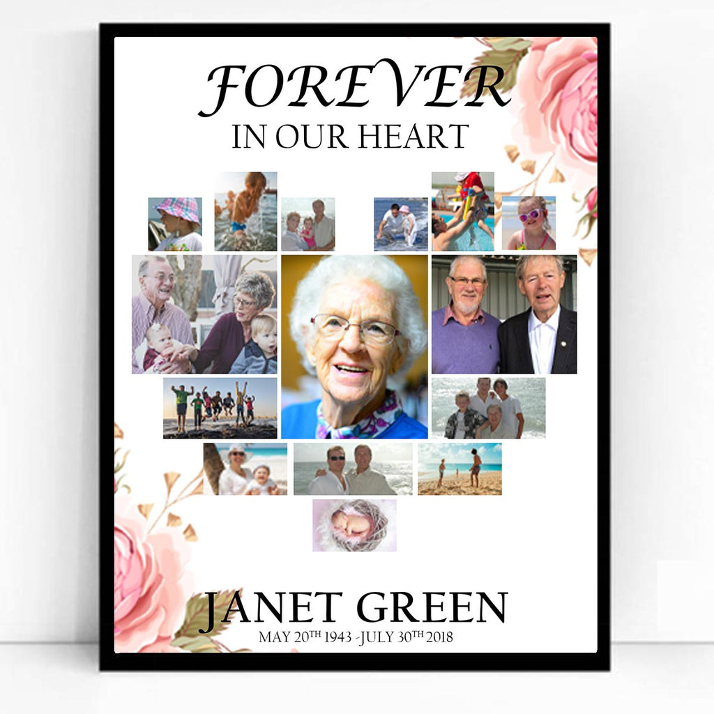 Funeral Memory Framed Board Collage