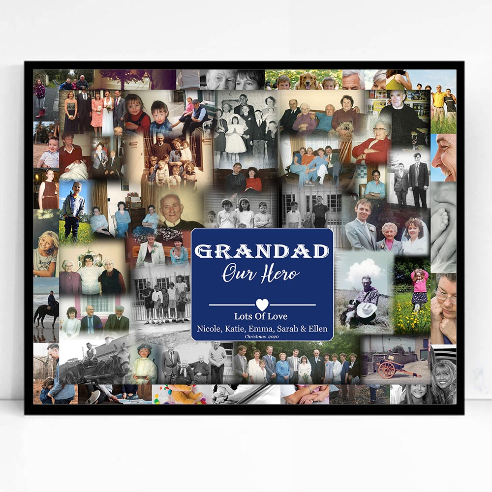 Grandad Our Hero Framed Photo Collage