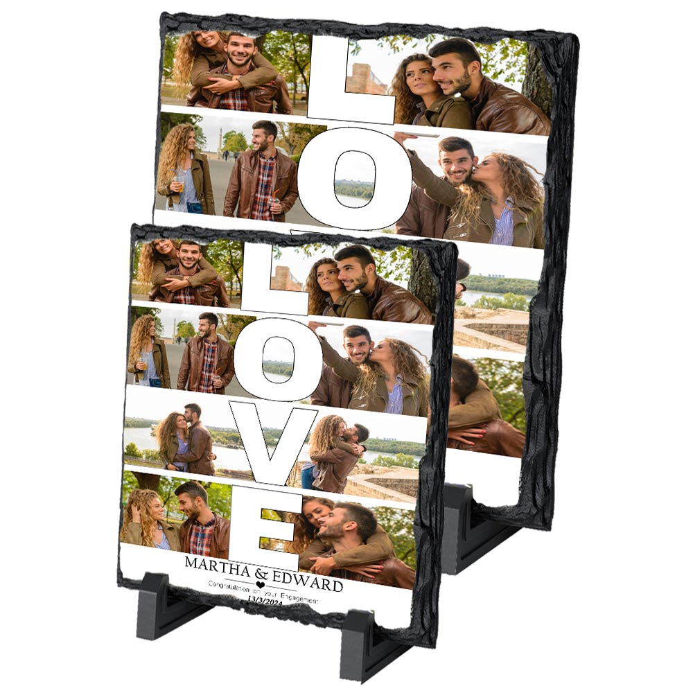 Our Love Photo Collage On Slate