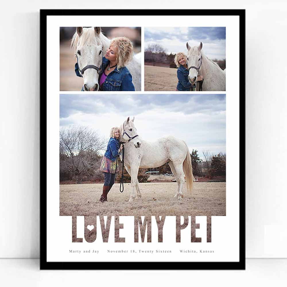 Gray Love My Pet Framed Picture Collage