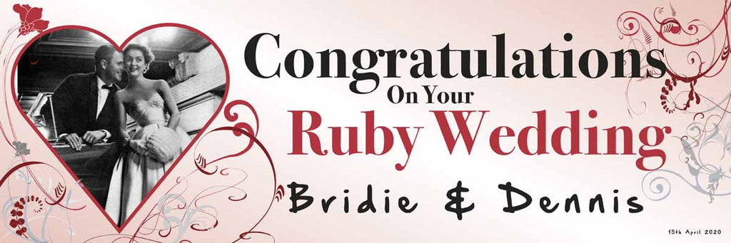 Ruby Wedding Anniversary Party Personalised Banner