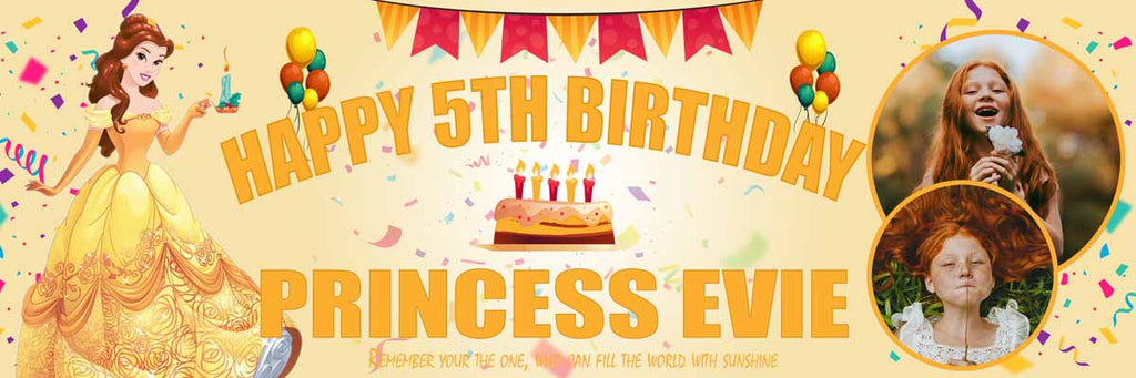 Belle Disney Princess Birthday Party Personalised Banner