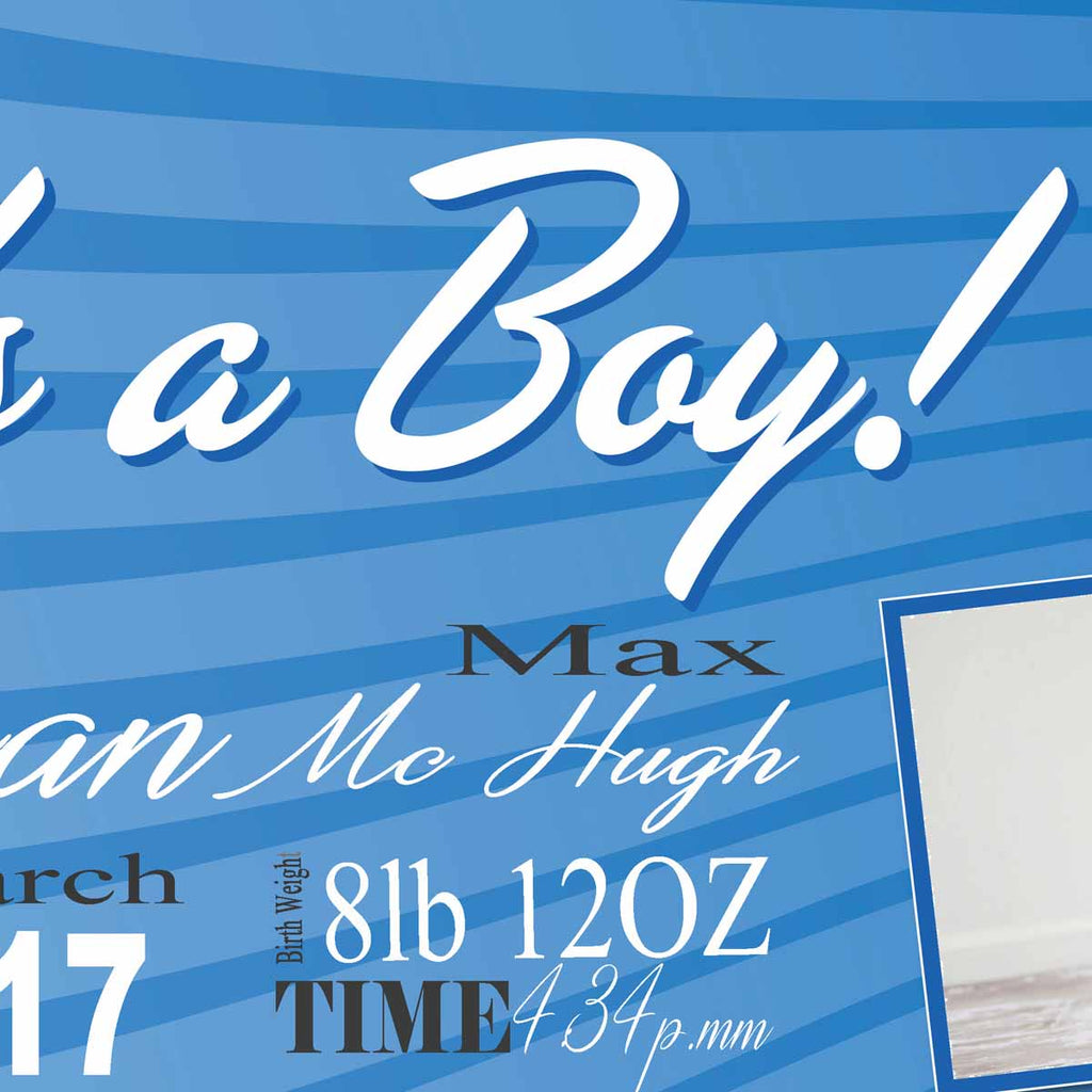 Photo Its A Boy Announcement Personalised Banner