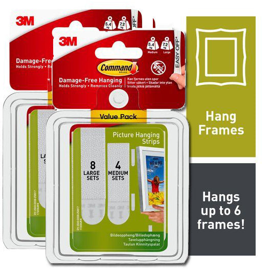 Command™ Picture Frame Hanging Strips Medium Large Double Pack