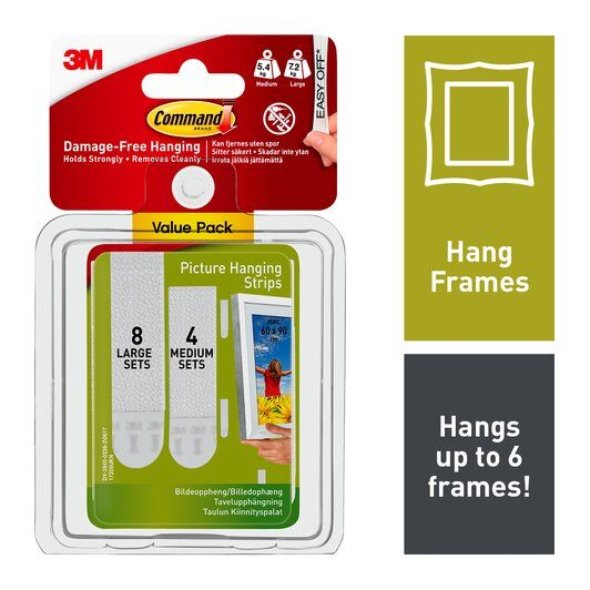 Command™ Picture Frame Hanging Strips Medium Large Value Pack