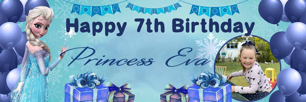 Frozen Birthday Party Personalised Photo Banner