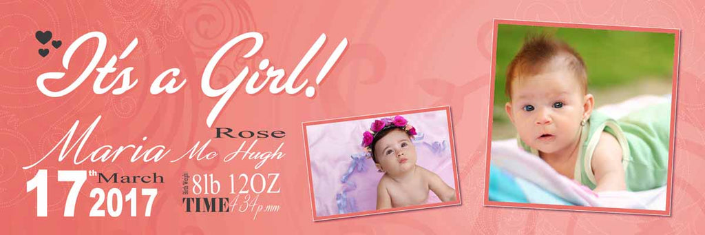 Its A Girl Announcement Personalised Banner