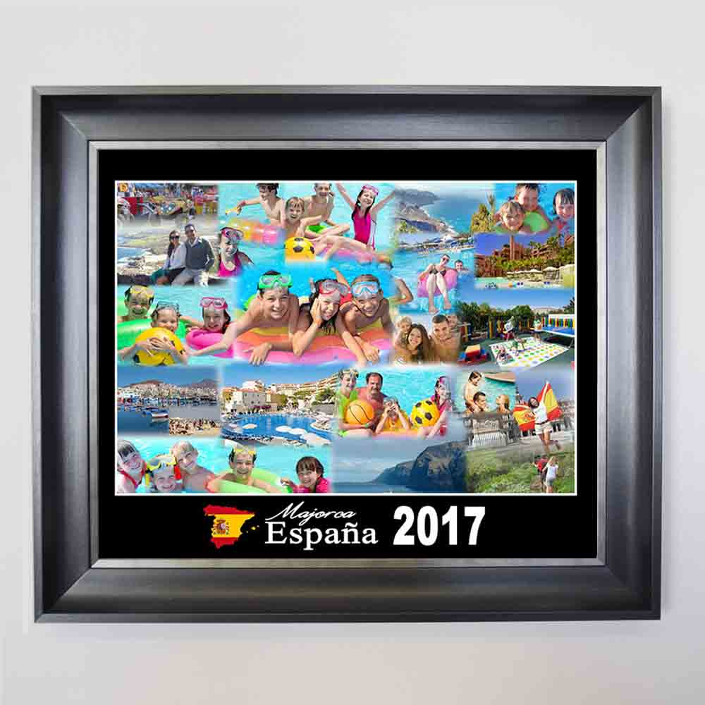 Medium Turquoise Summer Holidays Framed Photo Collage