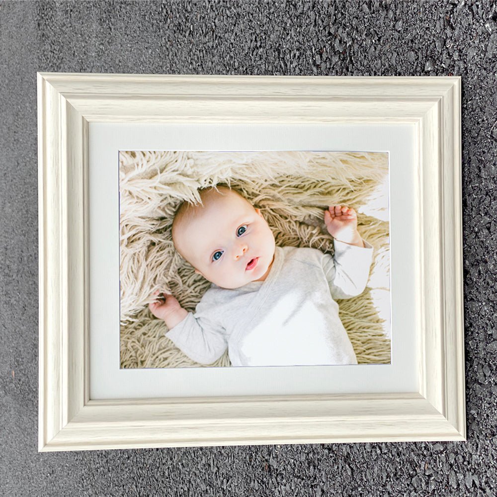 Mounted Atlantic Warm White Wooden Photo Frame in Various Sizes