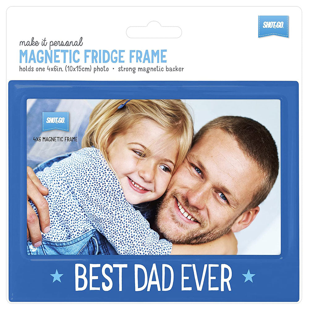 Magnetic Photo Fridge Frame Best Dad Ever 6x4 Blue