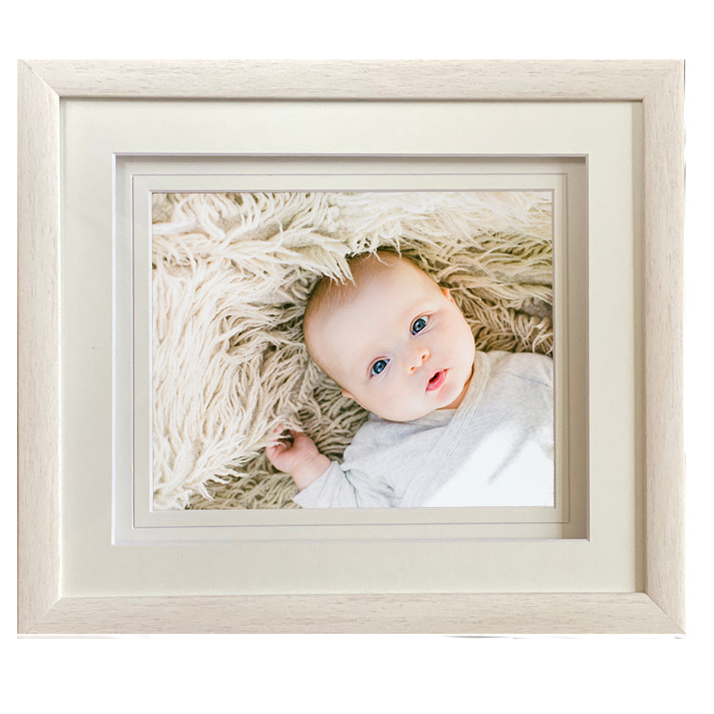 Alora White Wash Frame  14x12 for 10X8 print